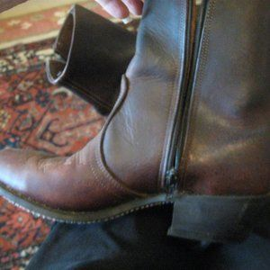 BROWN LEATHER ZIP COWGIRL BOOTS  *FRESHIP